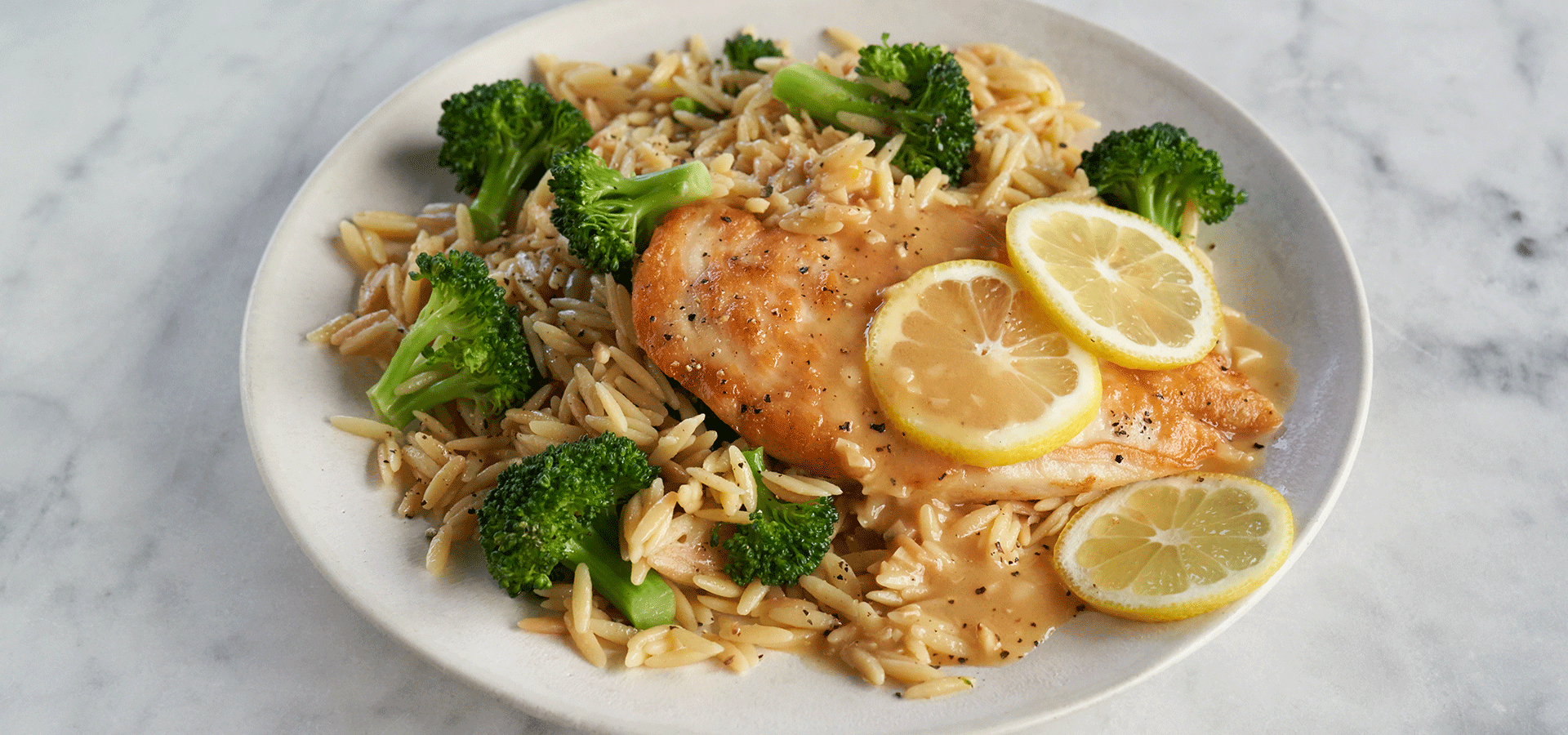 Chicken and Orzo with Lemon Garlic Pan Sauce