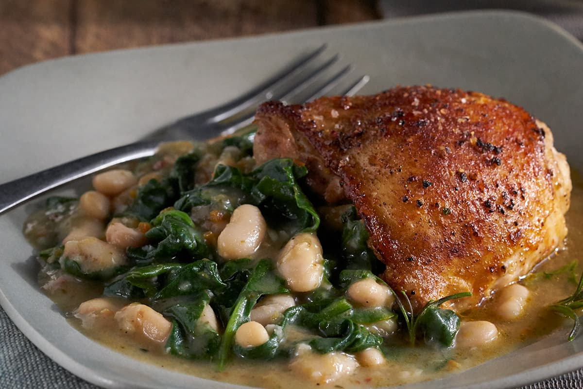 Braised Chicken with White Beans and Spinach