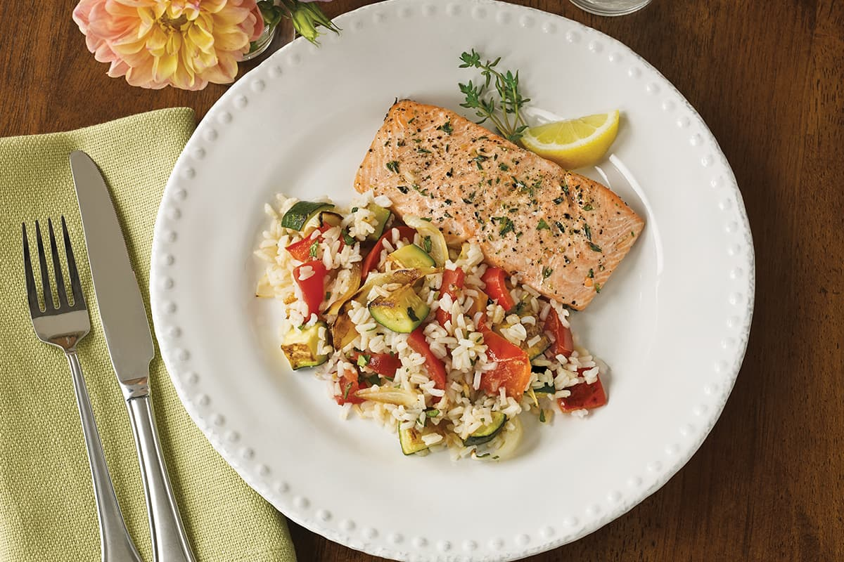 Roasted Ratatouille Rice and Salmon